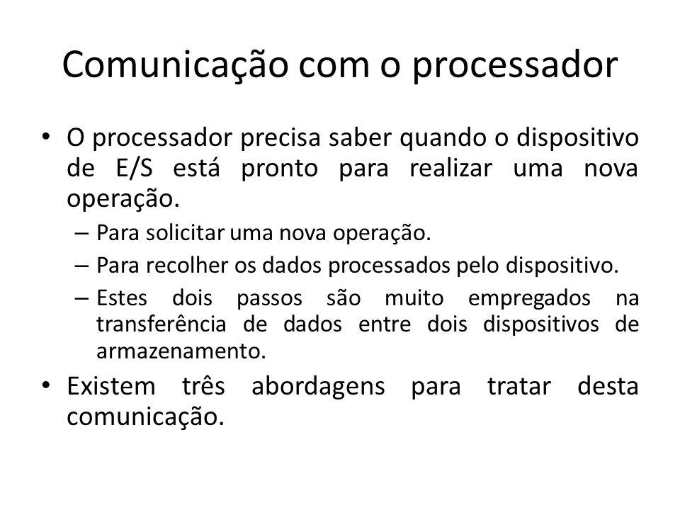 Comunicação com o processador O processador precisa saber quando o dispositivo de E/S está pronto para realizar uma nova operação. – Para solicitar um