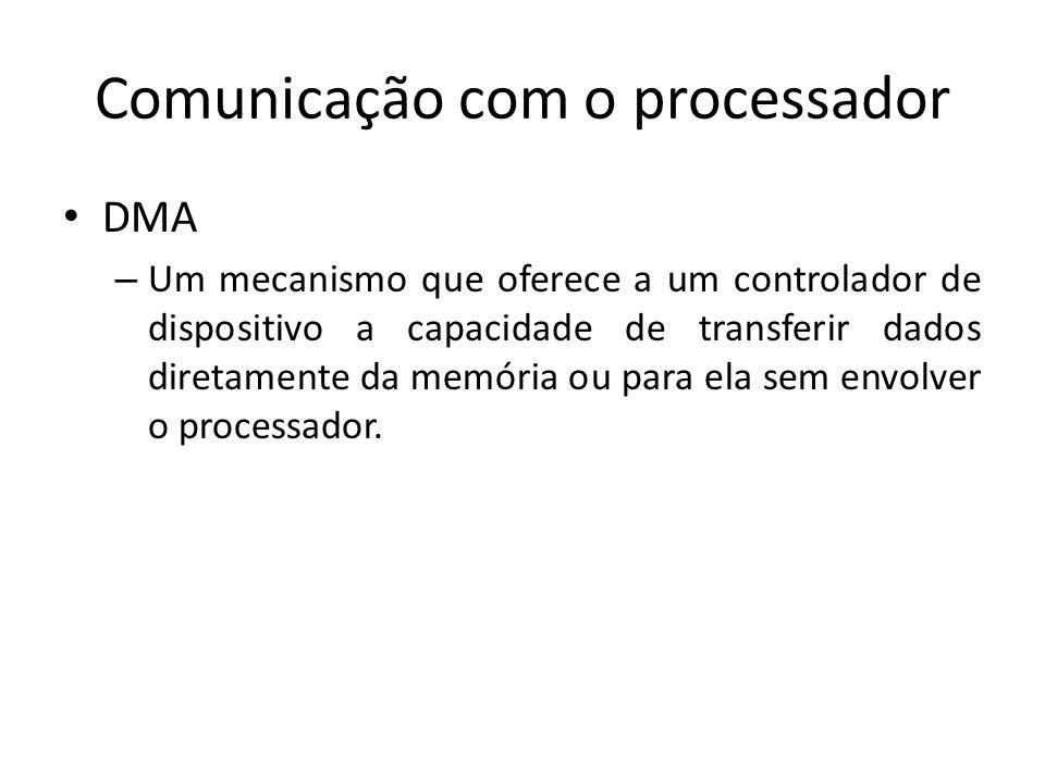 Comunicação com o processador DMA – Um mecanismo que oferece a um controlador de dispositivo a capacidade de transferir dados diretamente da memória o