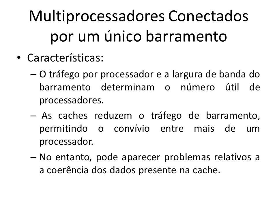 Características: – O tráfego por processador e a largura de banda do barramento determinam o número útil de processadores. – As caches reduzem o tráfe