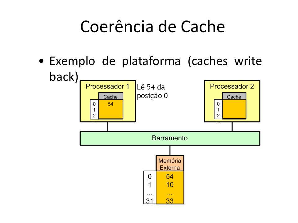 Coerência de Cache Lê 54 da posição 0 Exemplo de plataforma (caches write back)