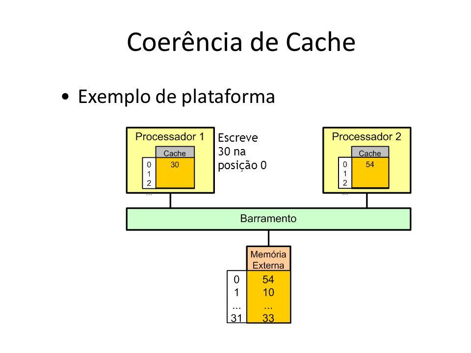 Coerência de Cache Escreve 30 na posição 0 Exemplo de plataforma