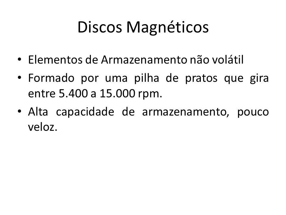 Discos Magnéticos Elementos de Armazenamento não volátil Formado por uma pilha de pratos que gira entre 5.400 a 15.000 rpm. Alta capacidade de armazen