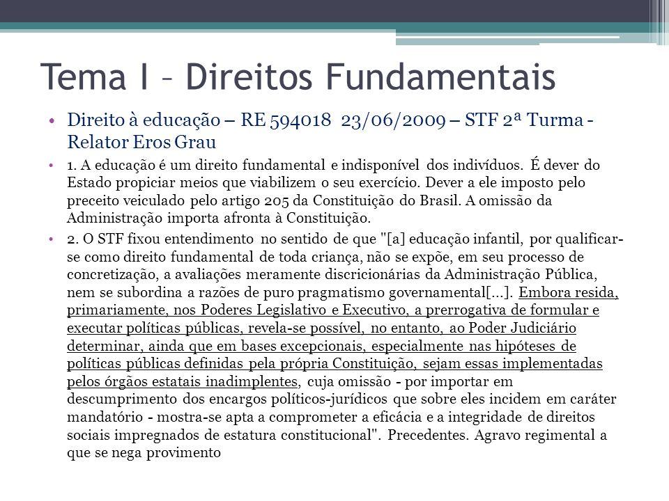 Tema I – Direitos Fundamentais Direito à educação – RE 594018 23/06/2009 – STF 2ª Turma - Relator Eros Grau 1. A educação é um direito fundamental e i