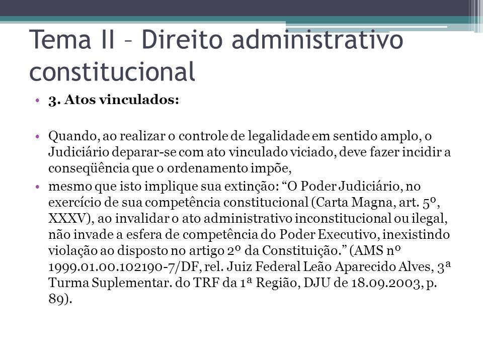 Tema II – Direito administrativo constitucional 3. Atos vinculados: Quando, ao realizar o controle de legalidade em sentido amplo, o Judiciário depara