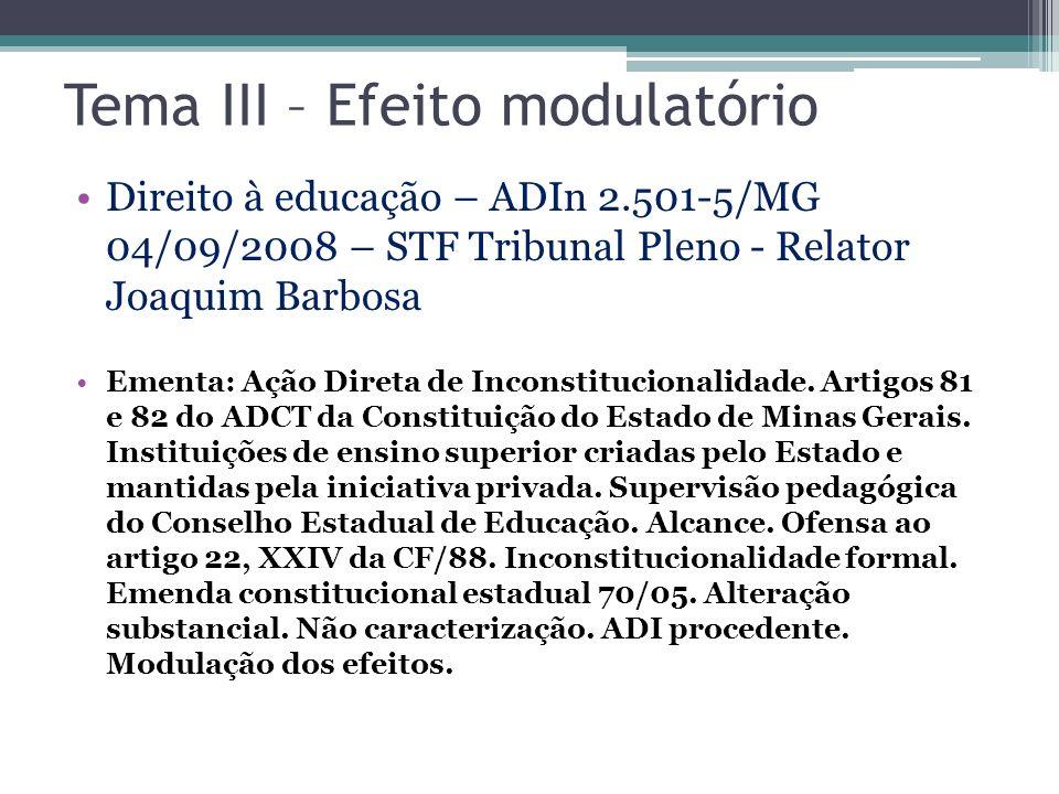 Tema III – Efeito modulatório Direito à educação – ADIn 2.501-5/MG 04/09/2008 – STF Tribunal Pleno - Relator Joaquim Barbosa Ementa: Ação Direta de In