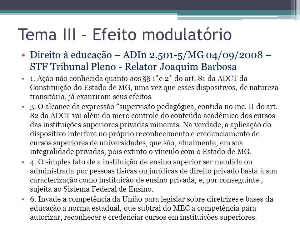 Tema III – Efeito modulatório Direito à educação – ADIn 2.501-5/MG 04/09/2008 – STF Tribunal Pleno - Relator Joaquim Barbosa 1. Ação não conhecida qua
