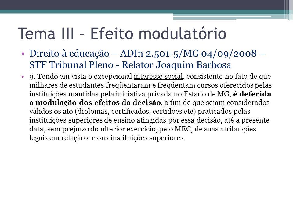 Tema III – Efeito modulatório Direito à educação – ADIn 2.501-5/MG 04/09/2008 – STF Tribunal Pleno - Relator Joaquim Barbosa 9. Tendo em vista o excep