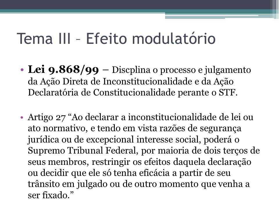 Tema III – Efeito modulatório Lei 9.868/99 – Discplina o processo e julgamento da Ação Direta de Inconstitucionalidade e da Ação Declaratória de Const