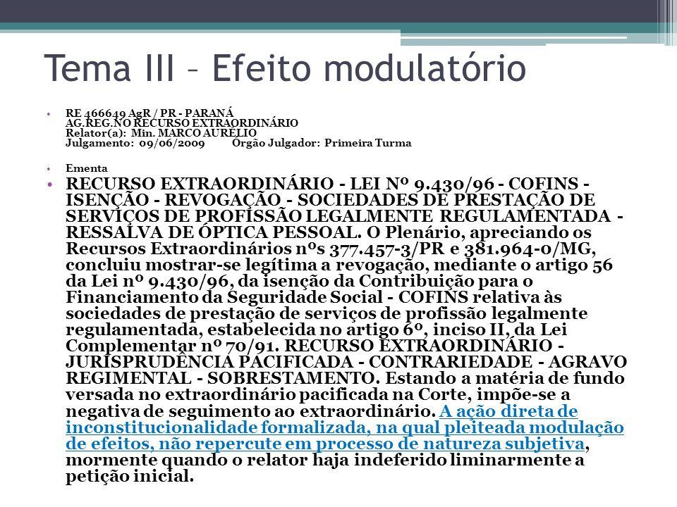 Tema III – Efeito modulatório RE 466649 AgR / PR - PARANÁ AG.REG.NO RECURSO EXTRAORDINÁRIO Relator(a): Min. MARCO AURÉLIO Julgamento: 09/06/2009 Órgão