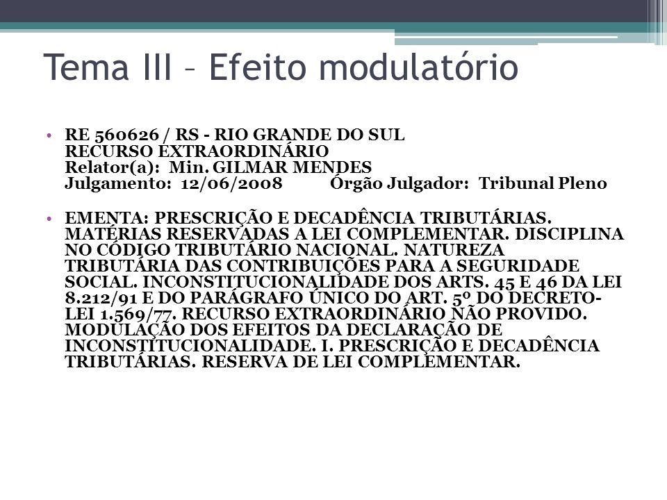 Tema III – Efeito modulatório RE 560626 / RS - RIO GRANDE DO SUL RECURSO EXTRAORDINÁRIO Relator(a): Min. GILMAR MENDES Julgamento: 12/06/2008 Órgão Ju