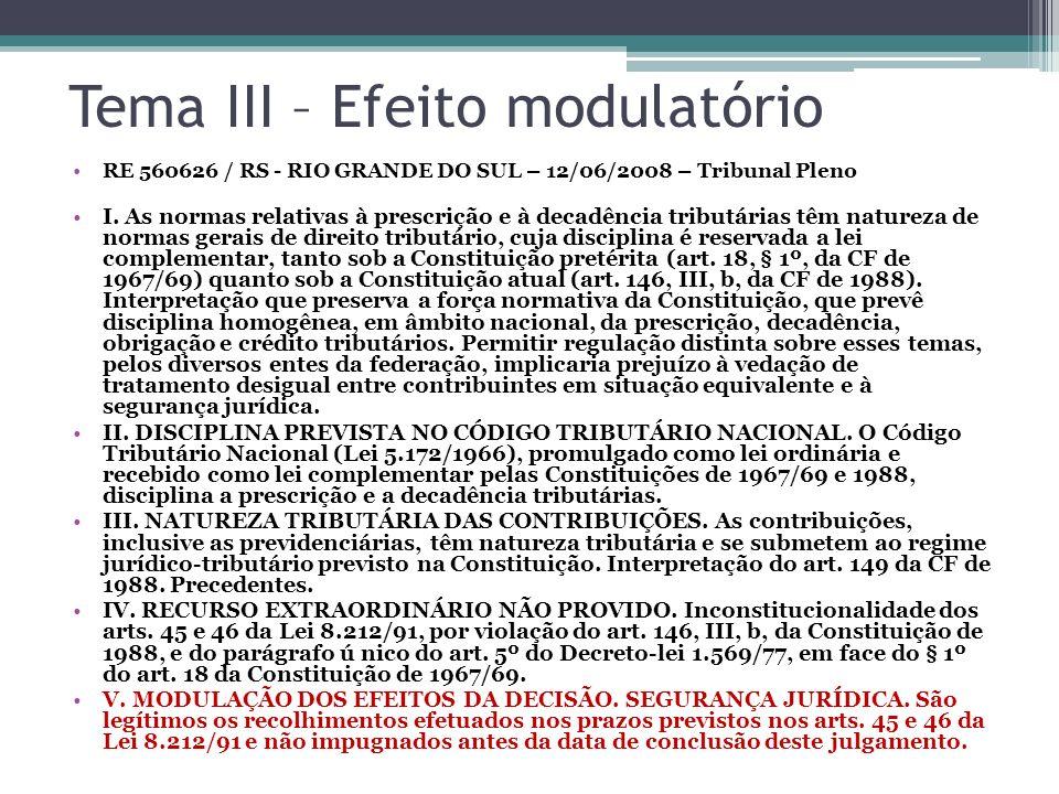 Tema III – Efeito modulatório RE 560626 / RS - RIO GRANDE DO SUL – 12/06/2008 – Tribunal Pleno I. As normas relativas à prescrição e à decadência trib