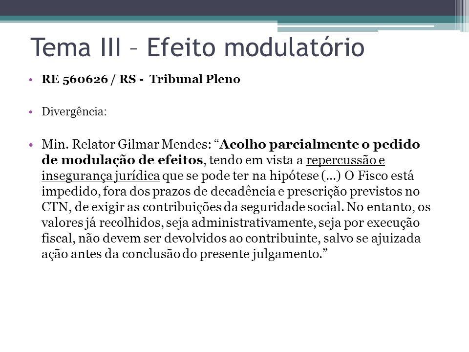 Tema III – Efeito modulatório RE 560626 / RS - Tribunal Pleno Divergência: Min. Relator Gilmar Mendes: Acolho parcialmente o pedido de modulação de ef