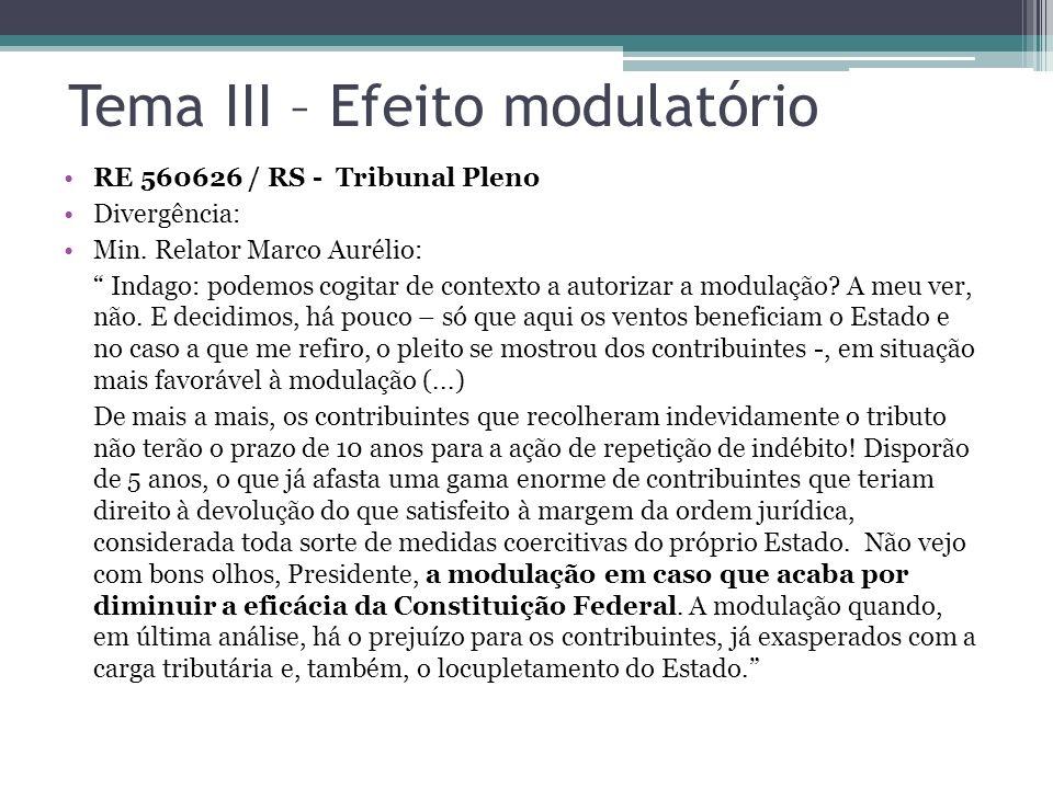 Tema III – Efeito modulatório RE 560626 / RS - Tribunal Pleno Divergência: Min. Relator Marco Aurélio: Indago: podemos cogitar de contexto a autorizar