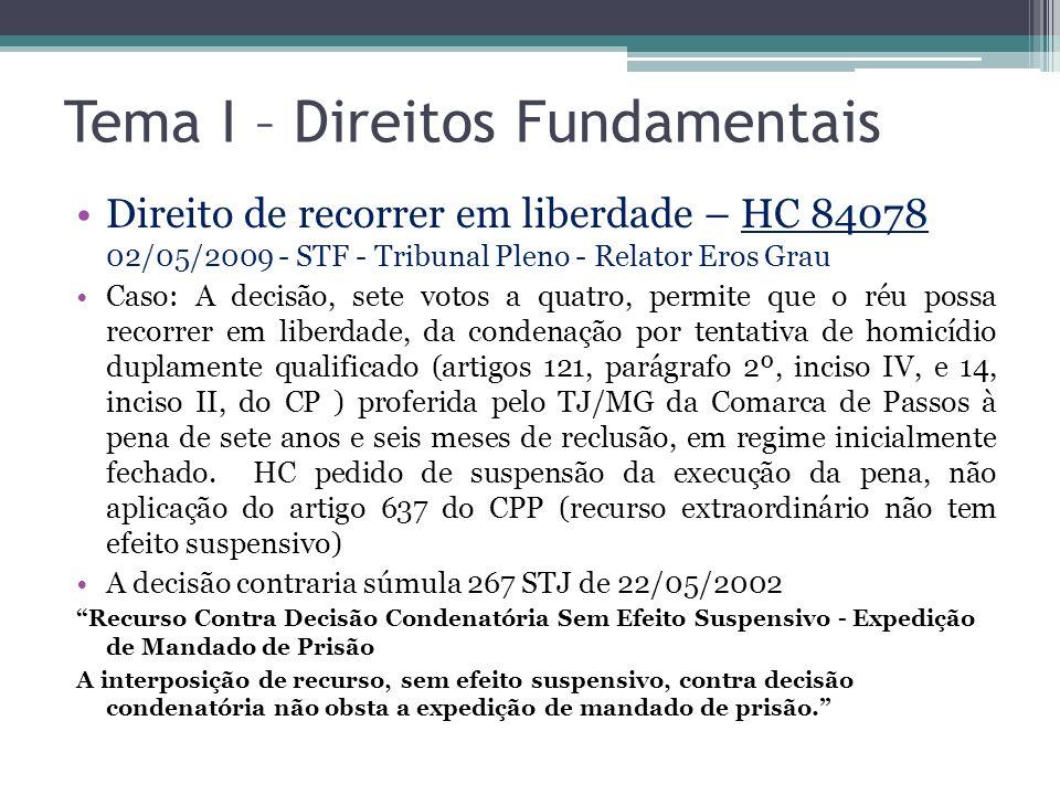 Tema I – Direitos Fundamentais Direito de recorrer em liberdade – HC 84078 02/05/2009 - STF - Tribunal Pleno - Relator Eros Grau Caso: A decisão, sete