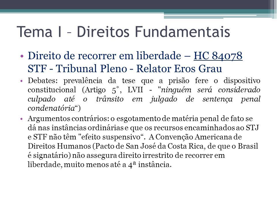Tema I – Direitos Fundamentais Direito de recorrer em liberdade – HC 84078 STF - Tribunal Pleno - Relator Eros Grau Debates: prevalência da tese que a