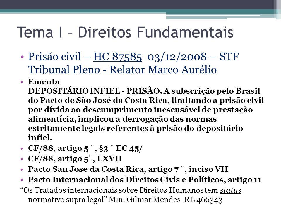 Tema I – Direitos Fundamentais Prisão civil – HC 87585 03/12/2008 – STF Tribunal Pleno - Relator Marco Aurélio Ementa DEPOSITÁRIO INFIEL - PRISÃO. A s