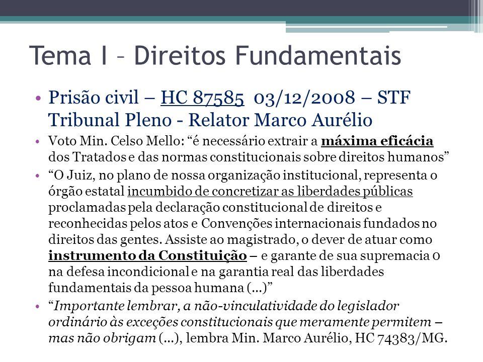 Tema I – Direitos Fundamentais Prisão civil – HC 87585 03/12/2008 – STF Tribunal Pleno - Relator Marco Aurélio Voto Min. Celso Mello: é necessário ext