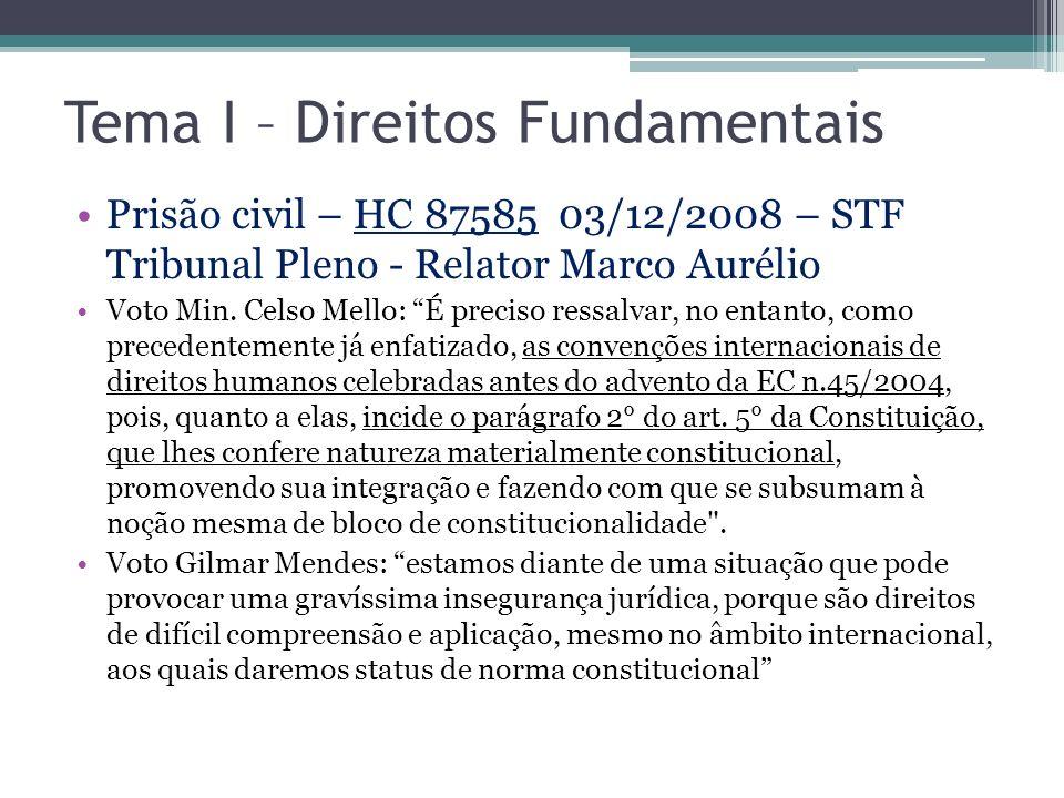 Tema I – Direitos Fundamentais Prisão civil – HC 87585 03/12/2008 – STF Tribunal Pleno - Relator Marco Aurélio Voto Min. Celso Mello: É preciso ressal