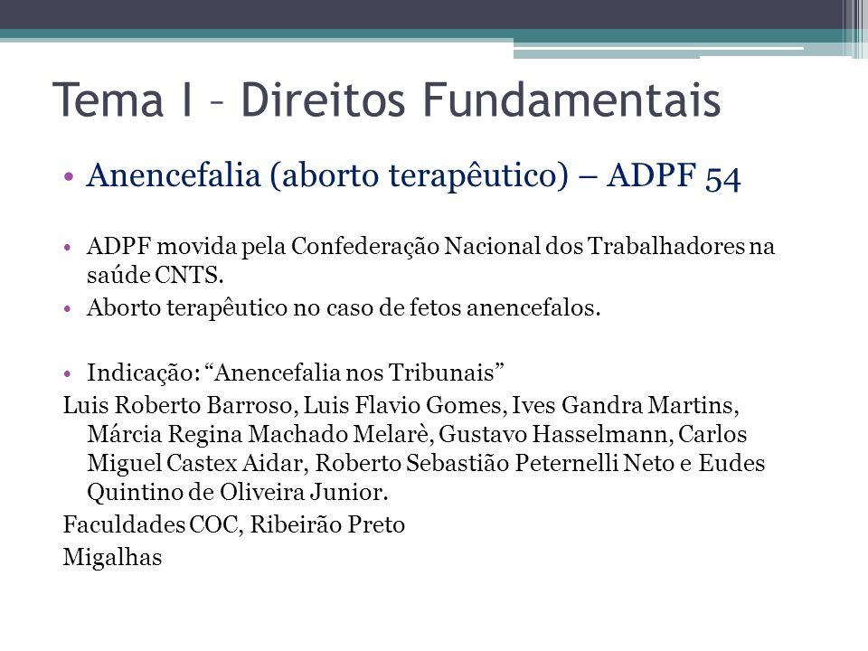 Tema I – Direitos Fundamentais Anencefalia (aborto terapêutico) – ADPF 54 ADPF movida pela Confederação Nacional dos Trabalhadores na saúde CNTS. Abor