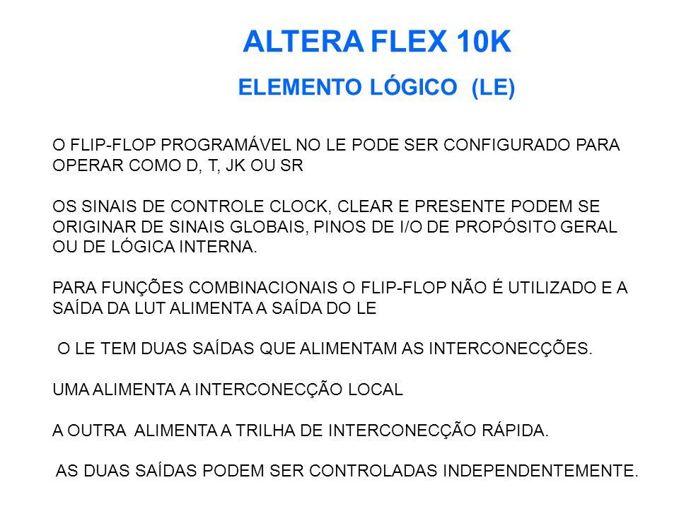 ALTERA FLEX 10K ELEMENTO LÓGICO (LE) O FLIP-FLOP PROGRAMÁVEL NO LE PODE SER CONFIGURADO PARA OPERAR COMO D, T, JK OU SR OS SINAIS DE CONTROLE CLOCK, CLEAR E PRESENTE PODEM SE ORIGINAR DE SINAIS GLOBAIS, PINOS DE I/O DE PROPÓSITO GERAL OU DE LÓGICA INTERNA.