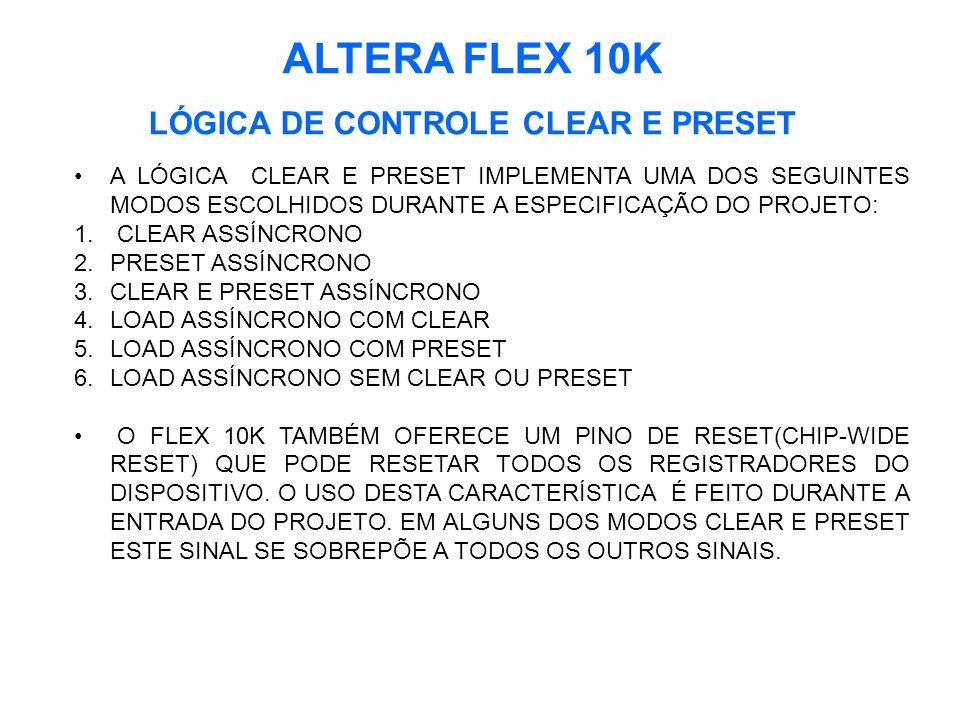 ALTERA FLEX 10K LÓGICA DE CONTROLE CLEAR E PRESET A LÓGICA CLEAR E PRESET IMPLEMENTA UMA DOS SEGUINTES MODOS ESCOLHIDOS DURANTE A ESPECIFICAÇÃO DO PROJETO: 1.