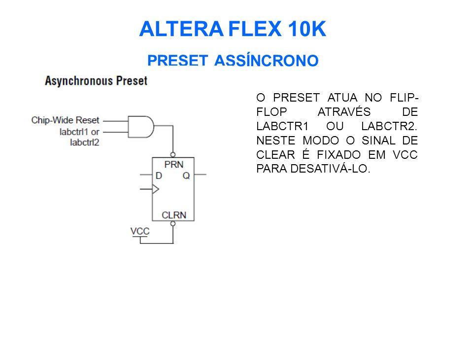 ALTERA FLEX 10K PRESET ASSÍNCRONO O PRESET ATUA NO FLIP- FLOP ATRAVÉS DE LABCTR1 OU LABCTR2.