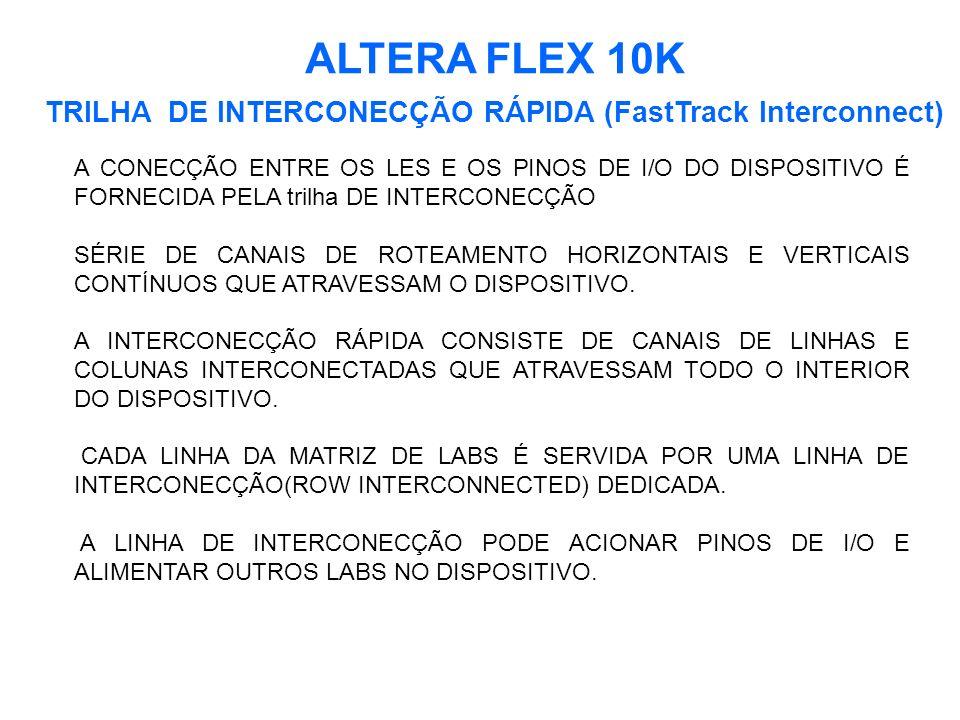 ALTERA FLEX 10K TRILHA DE INTERCONECÇÃO RÁPIDA (FastTrack Interconnect) A CONECÇÃO ENTRE OS LES E OS PINOS DE I/O DO DISPOSITIVO É FORNECIDA PELA trilha DE INTERCONECÇÃO SÉRIE DE CANAIS DE ROTEAMENTO HORIZONTAIS E VERTICAIS CONTÍNUOS QUE ATRAVESSAM O DISPOSITIVO.