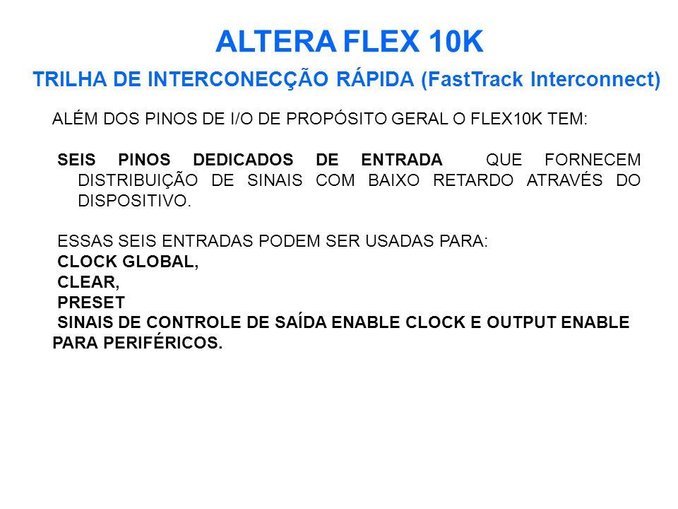 ALTERA FLEX 10K TRILHA DE INTERCONECÇÃO RÁPIDA (FastTrack Interconnect) ALÉM DOS PINOS DE I/O DE PROPÓSITO GERAL O FLEX10K TEM: SEIS PINOS DEDICADOS DE ENTRADA QUE FORNECEM DISTRIBUIÇÃO DE SINAIS COM BAIXO RETARDO ATRAVÉS DO DISPOSITIVO.
