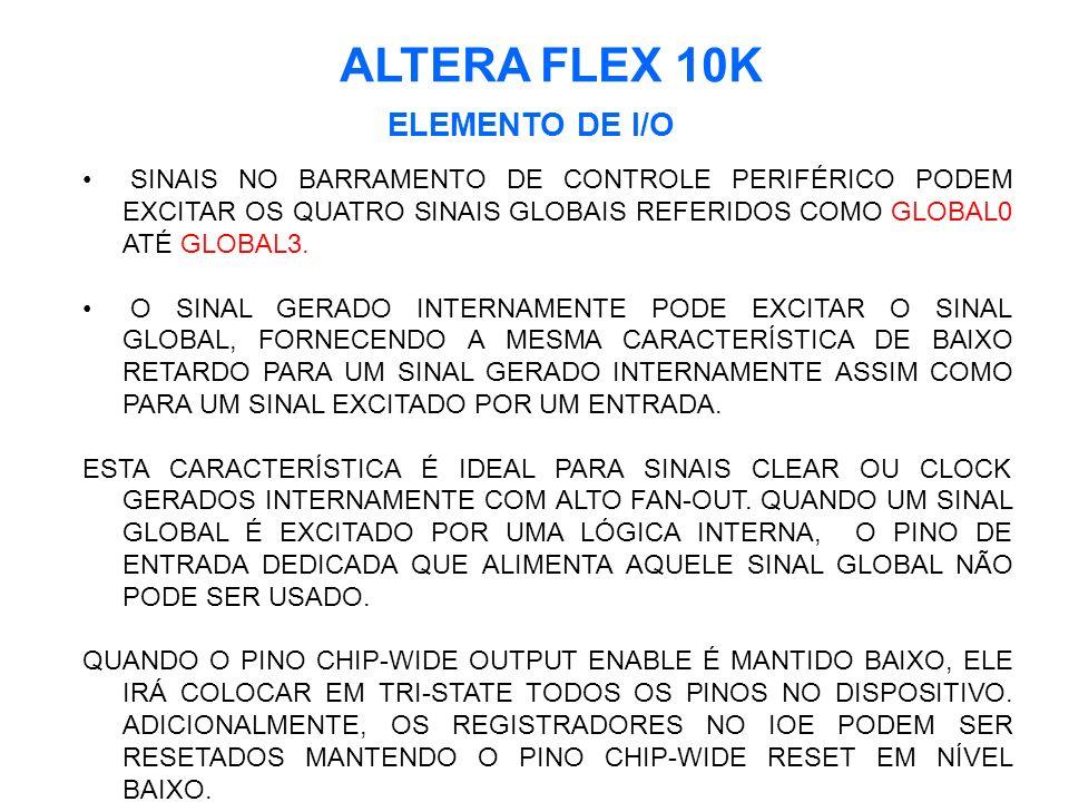 ALTERA FLEX 10K ELEMENTO DE I/O SINAIS NO BARRAMENTO DE CONTROLE PERIFÉRICO PODEM EXCITAR OS QUATRO SINAIS GLOBAIS REFERIDOS COMO GLOBAL0 ATÉ GLOBAL3.