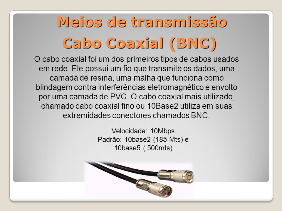 Meios de transmissão O cabo coaxial foi um dos primeiros tipos de cabos usados em rede.