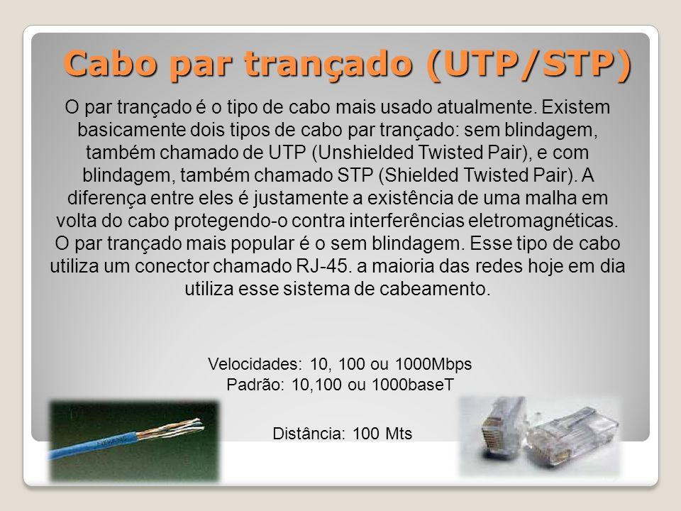 Cabo par trançado (UTP/STP) O par trançado é o tipo de cabo mais usado atualmente.