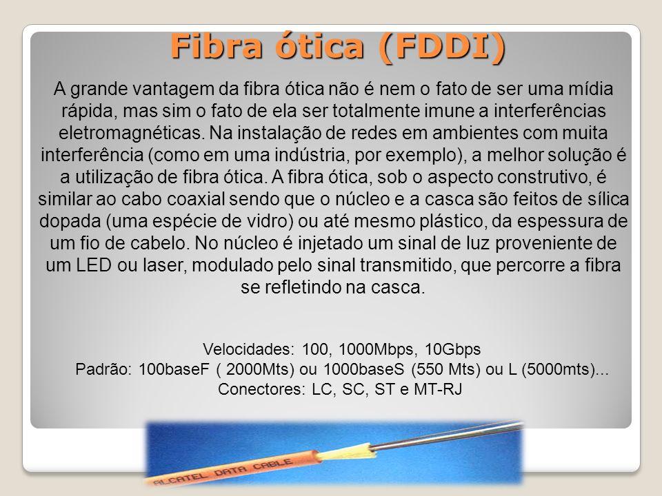 Fibra ótica (FDDI) A grande vantagem da fibra ótica não é nem o fato de ser uma mídia rápida, mas sim o fato de ela ser totalmente imune a interferências eletromagnéticas.