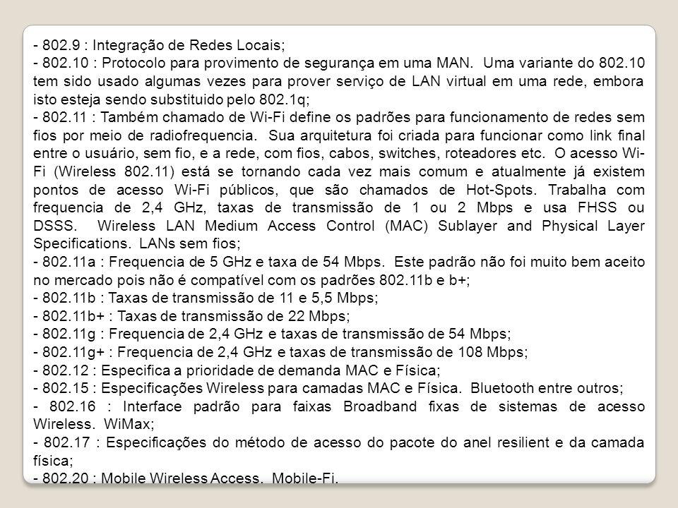 - 802.9 : Integração de Redes Locais; - 802.10 : Protocolo para provimento de segurança em uma MAN.