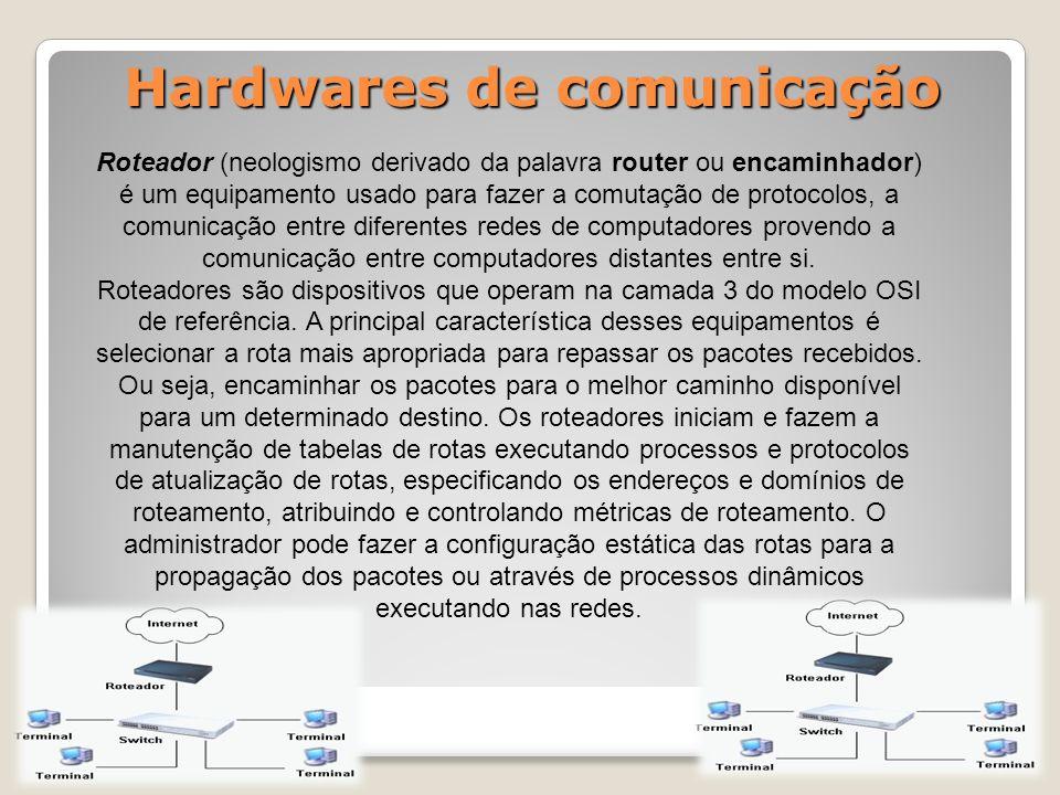 Hardwares de comunicação Roteador (neologismo derivado da palavra router ou encaminhador) é um equipamento usado para fazer a comutação de protocolos, a comunicação entre diferentes redes de computadores provendo a comunicação entre computadores distantes entre si.