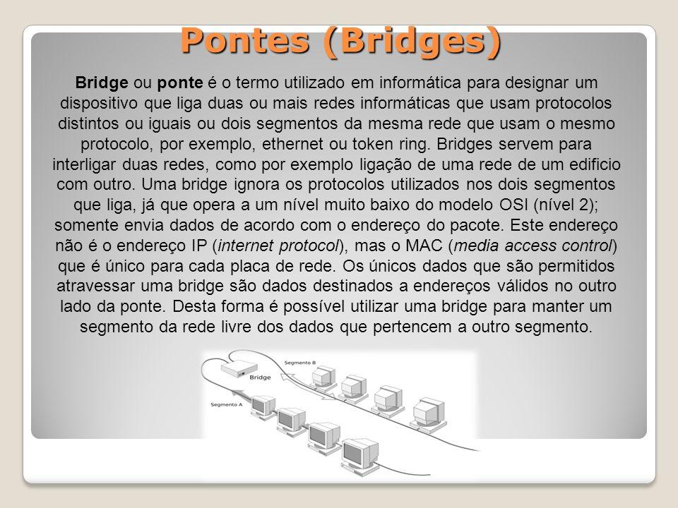 Pontes (Bridges) Bridge ou ponte é o termo utilizado em informática para designar um dispositivo que liga duas ou mais redes informáticas que usam protocolos distintos ou iguais ou dois segmentos da mesma rede que usam o mesmo protocolo, por exemplo, ethernet ou token ring.