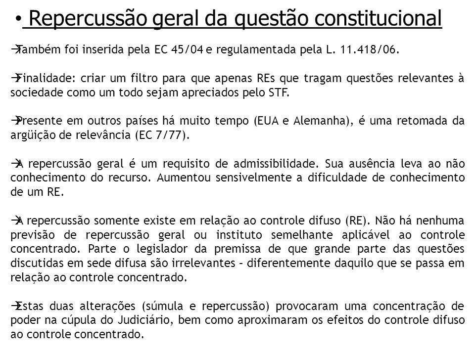 Repercussão geral da questão constitucional Também foi inserida pela EC 45/04 e regulamentada pela L.