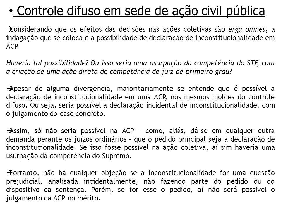 Controle difuso em sede de ação civil pública Considerando que os efeitos das decisões nas ações coletivas são erga omnes, a indagação que se coloca é a possibilidade de declaração de inconstitucionalidade em ACP.