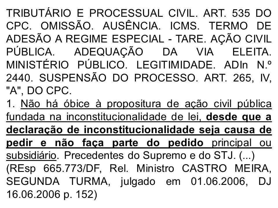 TRIBUTÁRIO E PROCESSUAL CIVIL.ART. 535 DO CPC. OMISSÃO.