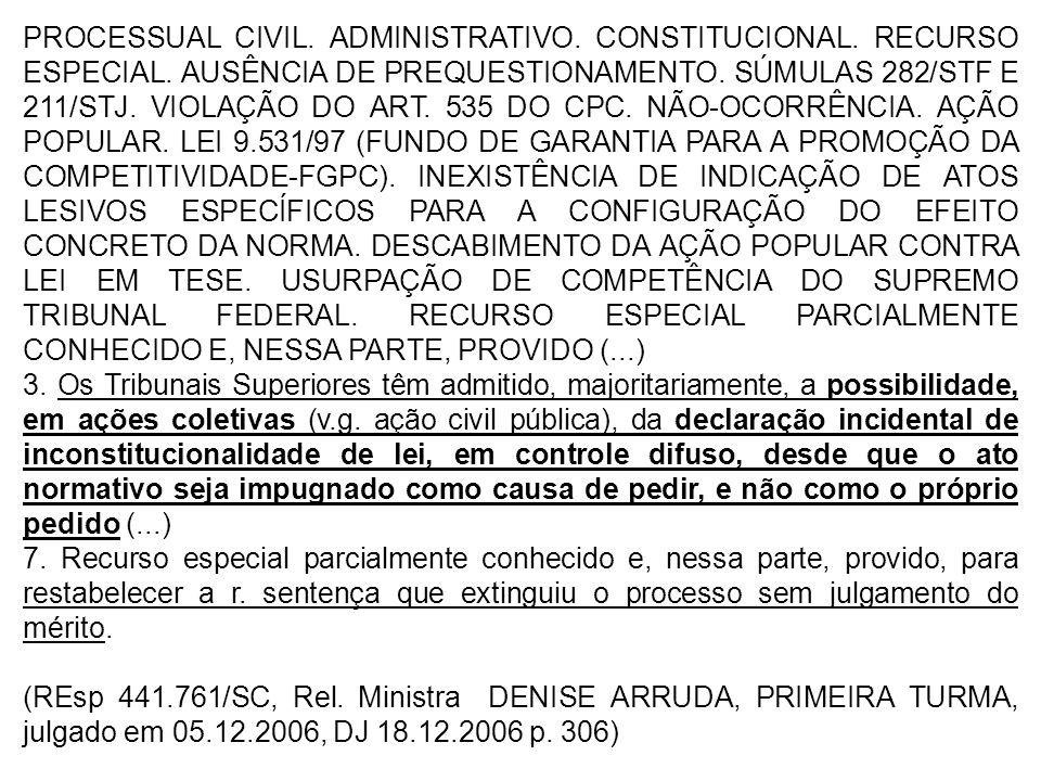 PROCESSUAL CIVIL.ADMINISTRATIVO. CONSTITUCIONAL. RECURSO ESPECIAL.