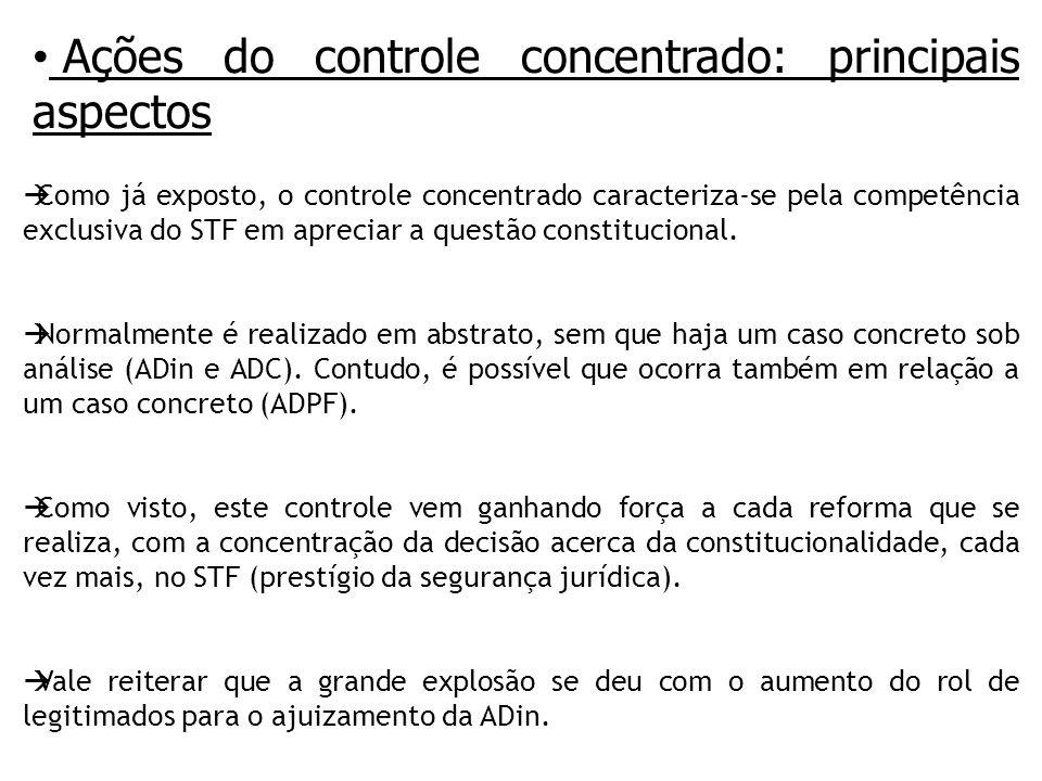 Ações do controle concentrado: principais aspectos Como já exposto, o controle concentrado caracteriza-se pela competência exclusiva do STF em apreciar a questão constitucional.
