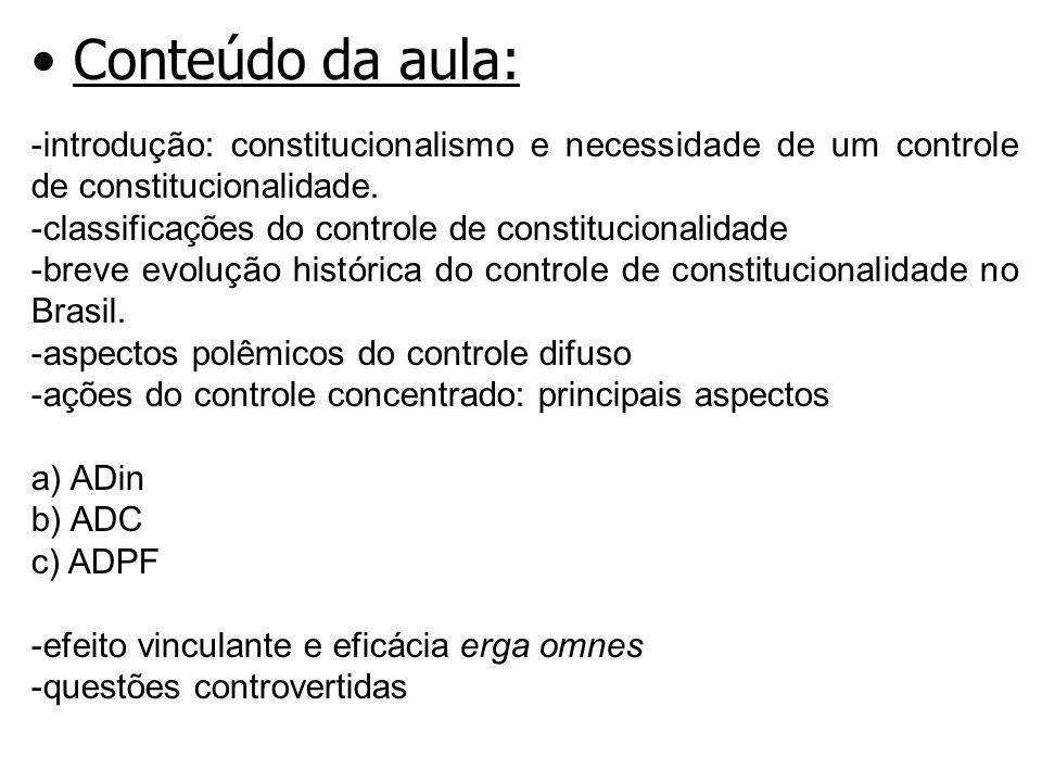 Conteúdo da aula: -introdução: constitucionalismo e necessidade de um controle de constitucionalidade.