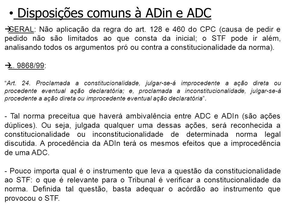Disposições comuns à ADin e ADC GERAL: Não aplicação da regra do art.