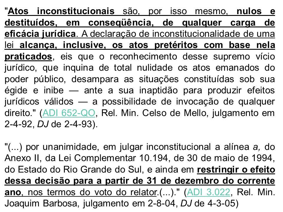 Atos inconstitucionais são, por isso mesmo, nulos e destituídos, em conseqüência, de qualquer carga de eficácia jurídica.