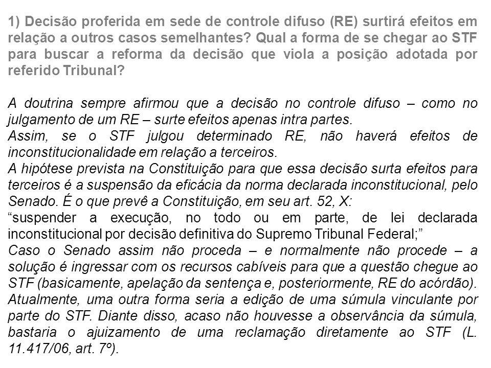1) Decisão proferida em sede de controle difuso (RE) surtirá efeitos em relação a outros casos semelhantes.