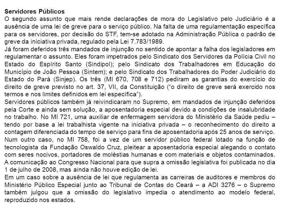 Servidores Públicos O segundo assunto que mais rende declarações de mora do Legislativo pelo Judiciário é a ausência de uma lei de greve para o serviço público.