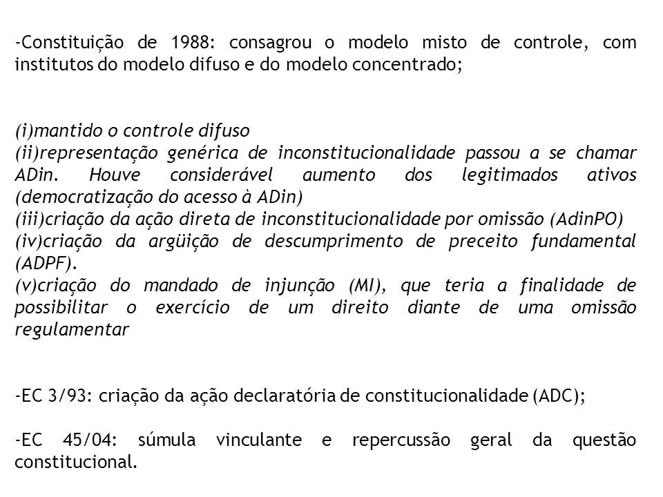 -Constituição de 1988: consagrou o modelo misto de controle, com institutos do modelo difuso e do modelo concentrado; (i)mantido o controle difuso (ii)representação genérica de inconstitucionalidade passou a se chamar ADin.