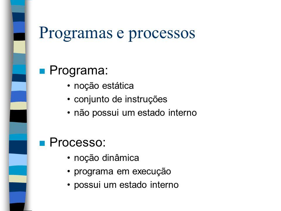 Programas e processos n Programa: noção estática conjunto de instruções não possui um estado interno n Processo: noção dinâmica programa em execução p