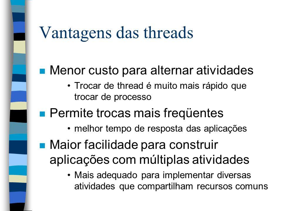Vantagens das threads n Menor custo para alternar atividades Trocar de thread é muito mais rápido que trocar de processo n Permite trocas mais freqüen