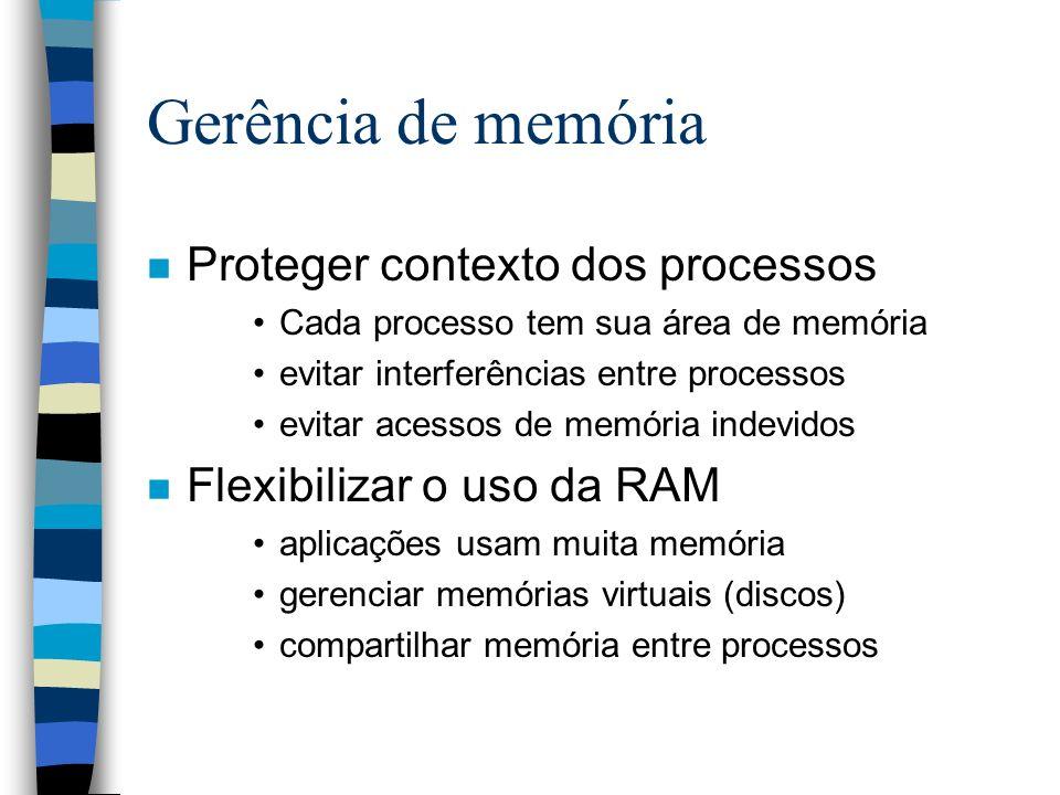 Gerência de memória n Proteger contexto dos processos Cada processo tem sua área de memória evitar interferências entre processos evitar acessos de me