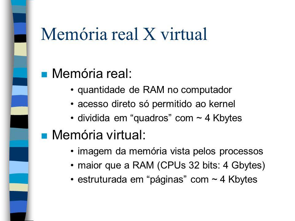 Memória real X virtual n Memória real: quantidade de RAM no computador acesso direto só permitido ao kernel dividida em quadros com ~ 4 Kbytes n Memór